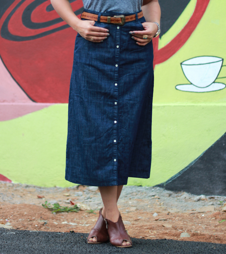 Fall look, Styling button down denim skirt